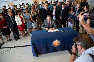 Governor Dunleavy signing House Bill 49 in Anchorage