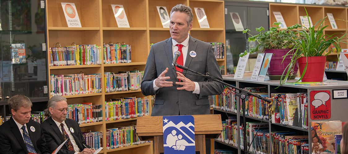 Governor Dunleavy speaking in the Turnagain Library announcing the Alaska Reads Act